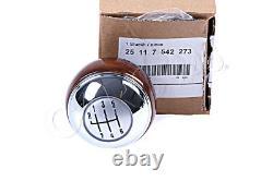 Genuine MINI R50 R52 R53 6 Speed Gear Shift Knob Wood Chrome OEM 25117542273