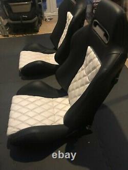 Recaro Sr/speed Leather Seats With Custom Bmw E30 Brackets/genuine Recaro Slider